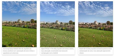 Comparação de cores: Galaxy Note 20 Ultra, iPhone 11 Pro Max e Mi 10 Ultra (Reprodução/DxOMark)
