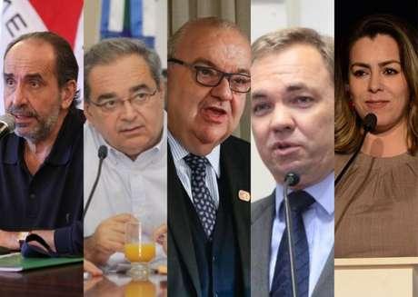 Candidatos à reeleição Alexandre Kalil (PSD/MG), Álvaro Dias (PSDB/RN), Rafael Greca (DEM/PR), Gean Loureiro (DEM/SC) e Cinthia Ribeiro (PSDB/TO).
