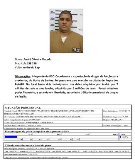 Ficha de André na Secretaria de Administração penitenciária (SAP)