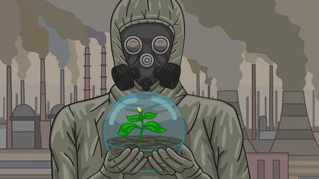 Ilustração de uma pessoa com uma máscara de gás e uma planta