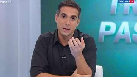 Villani narra Flamengo x Goiás pelo canal Premiere (Foto: Reprodução TV)
