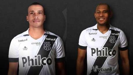 Novos reforços da Ponte Preta: à direita, o atacante Wanderley; à esquerda, o lateral Léo Pereira