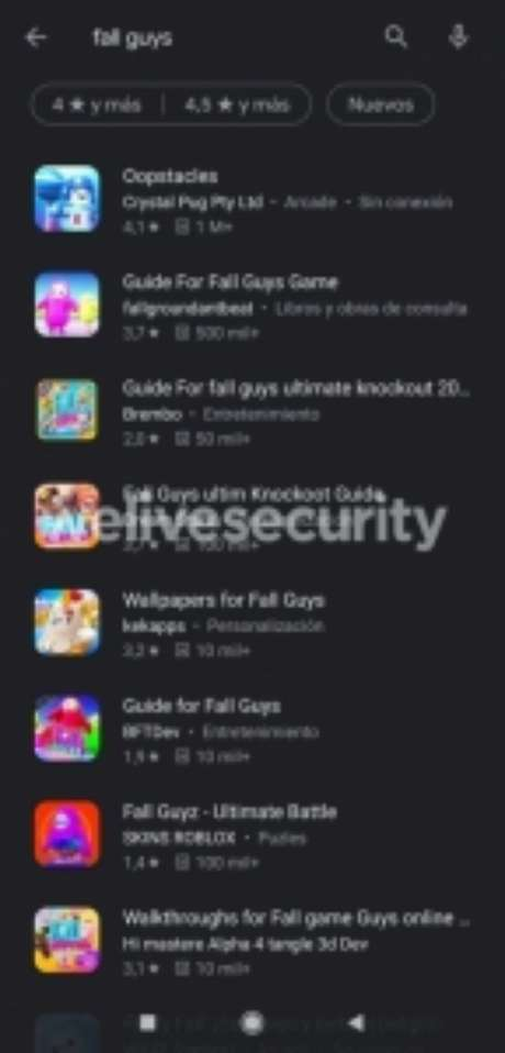 "Resultados do Google Play para a busca ""Fall Guys"""
