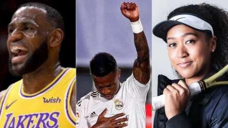 LeBron, Vinícus Júnior e Naomi Osaka: atletas tem opinião e se expressam publicamente por causas sociais (Foto: Divulgação)