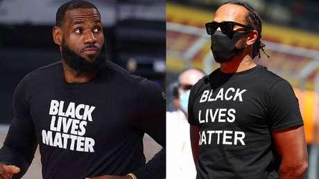 """""""Vidas negras importam"""": Atleta de basquete LeBron James e piloto da F1 Lewis Hamilton se posicionaram publicamente contra o racismo (AFP)"""