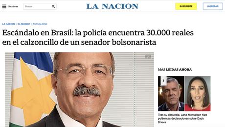 """Escândalo no Brasil: Polícia encontra R$ 30 mil na cueca de um senador bolsonarista"", diz La Nación"