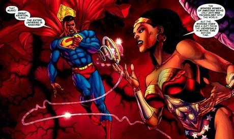 Kalel, ou em seu nome terrestre, Calvin Ellis, Presidente e Super-Homem da Terra 23, e Núbia, a Mulher-Maravilha