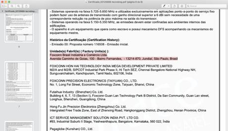 Certificado de homologação do iPhone 12 Pro lista Foxconn de Jundiaí (Imagem: Reprodução/Anatel)