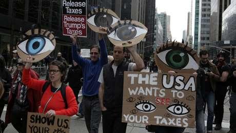 Manifestação em 2017 pediu revelação de dados sobre pagamento de impostos por Trump