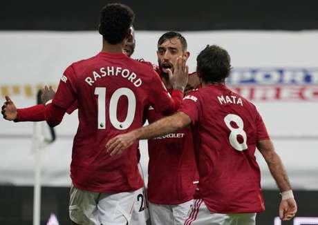 Jogadores do United comemoram gol sobre o Newcastle (Owen Humphreys / POOL / AFP)