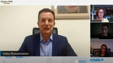 O candidato Celso Russomanno, que disputa a Prefetura de SP pelo Republicanos, é sabatinado por jornalistas do 'Estadão'