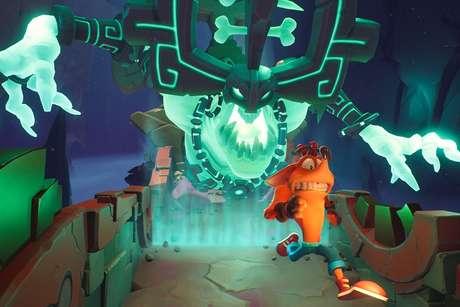 Na mesma fase, você pode seguir em 2D, trocar para o 3D e, depois, correr de monstros