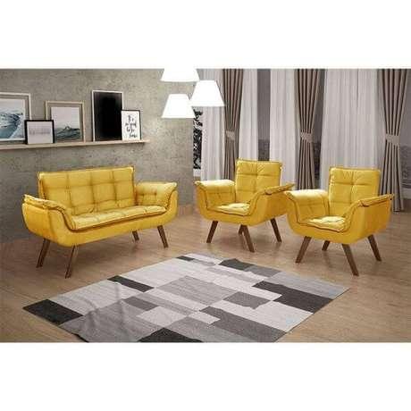 29. Conjunto para sala de estar com poltrona opala amarela – Via: Pinterest