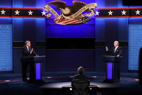 Donald Trump e Joe Biden durante primeiro debate presidencial