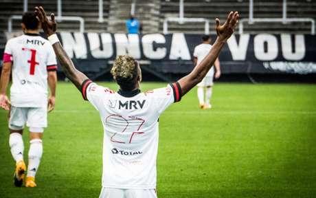 13º do ano: Bruno Henrique marcou um gol diante do Corinthians, domingo último (Foto: Felipe Patiño/Flamengo)