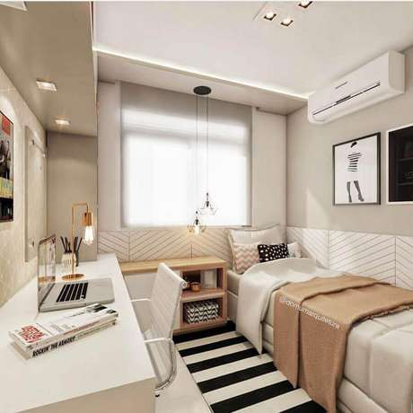 9. Uma boa iluminação será um grande diferencial na decoração de quarto de solteiro pequeno – Foto: Pinterest