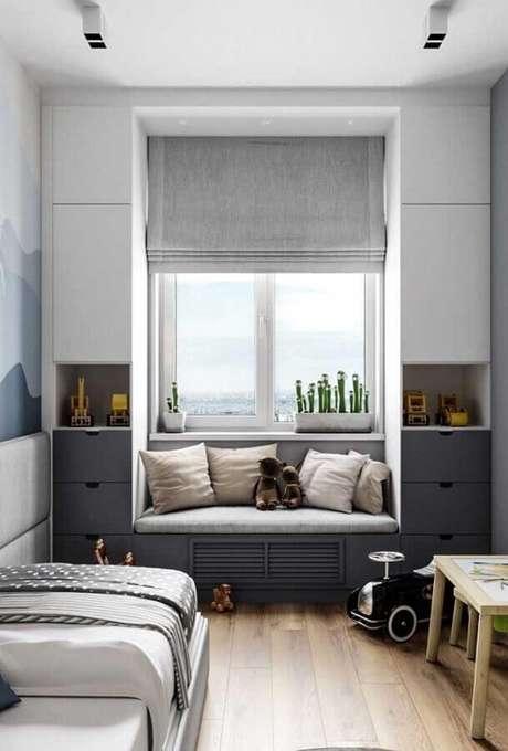 17. Os móveis planejados ajudam a ganhar mais espaço na decoração de quarto pequeno solteiro – Foto: Pinterest