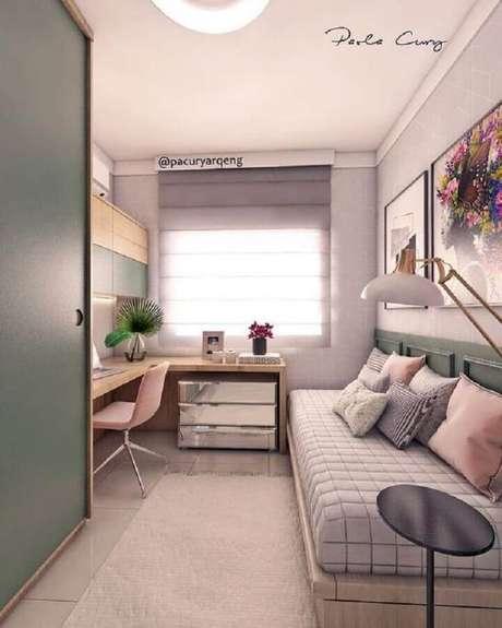 32. Móveis planejados para decoração de quarto de solteiro feminino pequeno – Foto: No Decora