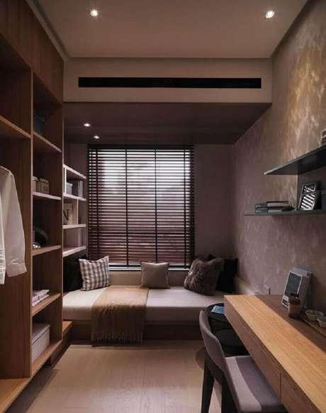46. Decoração para quarto de solteiro pequeno planejado moderno – Foto: Penterest