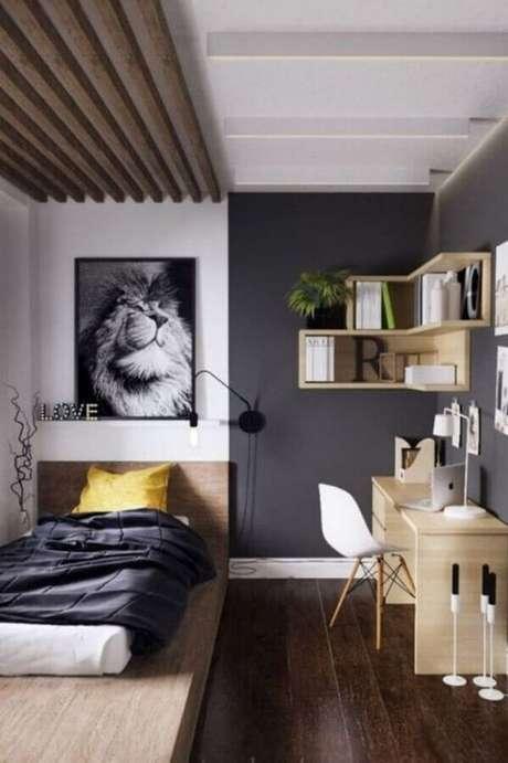 49. A cama baixa também é uma boa dica de como decorar um quarto pequeno de solteiro e criar a sensação de que o ambiente é maior – Foto: Futurist Architecture