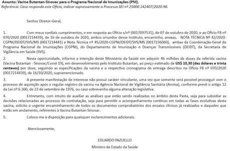 Ofício assinado pelo ministro da Saúde, Eduardo Pazuello, fala sobre intenção de comprar 46 milhões de doses da Coronavac após aprovação da Anvisa