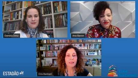 Daniela Diniz, Ana Bavon e Cris Barbieri durante live do projeto Sua Carreira desta quarta-feira, 21.