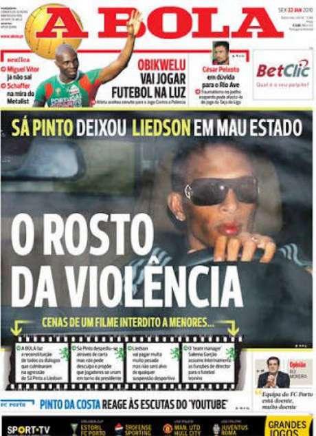 Imprensa portuguesa noticiou desentendimento entre Liedson e Sá Pinto em 2010 (Foto: Reprodução)