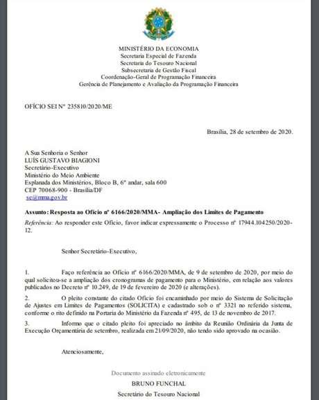 Em ofício, Tesouro nega pedido de recomposição de recursos para o Ibama
