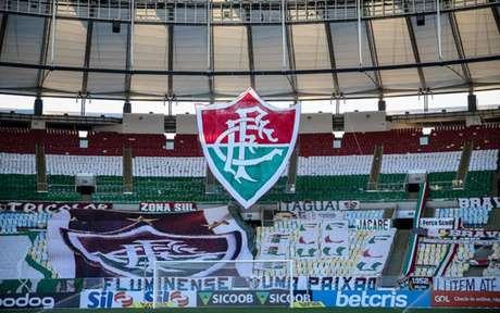 Mosaico montado pela torcida em partida sem público na pandemia (Foto: Lucas Merçon/Fluminense FC)