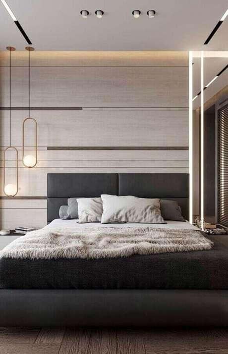 59. Quarto moderno decorado com cabeceira cinza escuro estofada – Foto: Futurist Architecture
