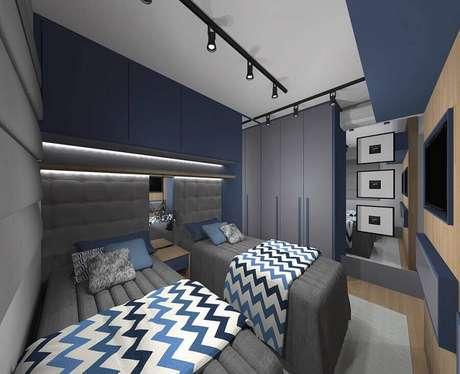 55. Cabeceira cinza solteiro para decoração de quarto masculino duplo – Foto: Pinterest