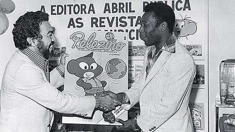 Pelé e Maurício de Sousa em 1977, no lançamento da revista Pelezinho