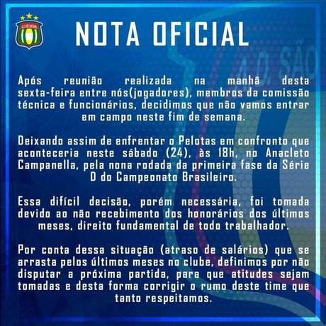 Comunicado do São Caetano que anuncia a ausência do time na próxima rodada da Série D do Brasileirão.