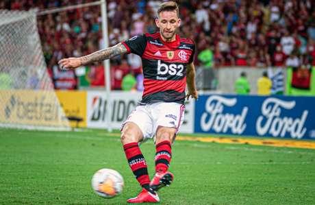 Léo Pereira em ação pelo Flamengo: zagueiro está em sua primeira temporada no Ninho (Foto: Paula Reis / Flamengo)