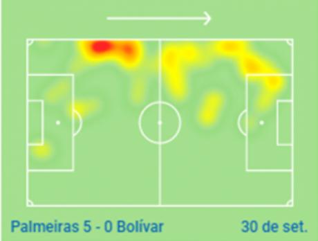 Mapa de calor contra o Bolívar mostra Viña muito ativo dentro da área adversária(Imagem: SofaScore)