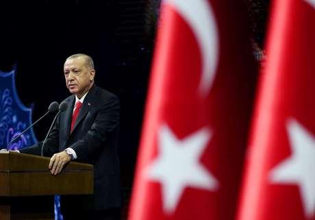 Presidente da Turquia, Tayyip Erdogan, discursa em Ancara 26/10/2020 Escritório de Imprensa da Presidência da Turquia/Divulgação via REUTERS