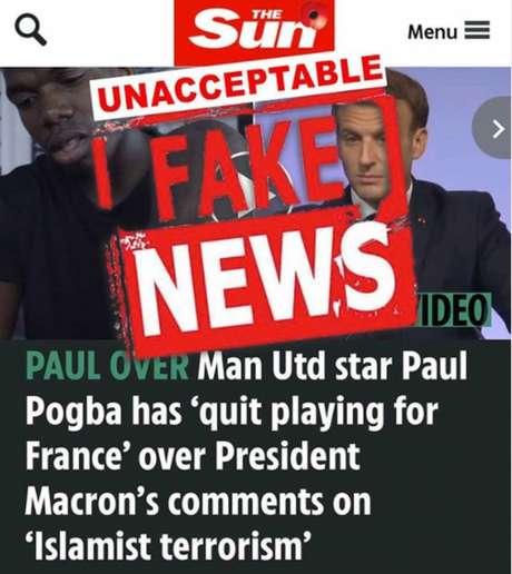 """Pogba disse que a matéria publicada pelo The Sun é """"fake news"""" (Foto: Reprodução/Instagram)"""