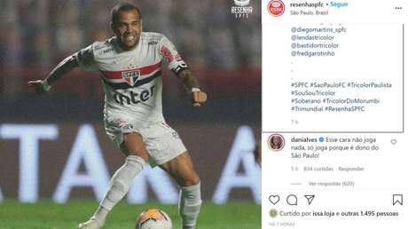 Astro Daniel Alves ironizou as críticas feitas por torcedores do São Paulo (Foto: Reprodução)