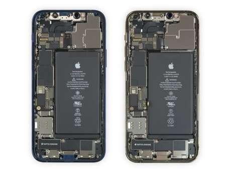 Interior do iPhone 12 e iPhone 12 Pro (imagem: iFixit)