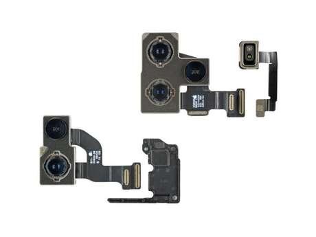 Módulos de câmeras do iPhone 12 e do iPhone 12 Pro (imagem: iFixit)