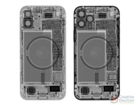 Raio-x do iPhone 12 e iPhone 12 Pro (imagem: iFixit)