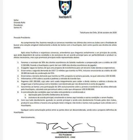 A proposta do Huachipato ao Santos por Soteldo (Foto: Reprodução)