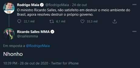 Cópia de tuíte de Ricardo Salles, que depois foi apagado