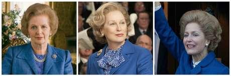 Margaret Thatcher e ao lado Meryl Streep e Gillian Anderson na pele da então Primeira-Ministra do Reino Unido