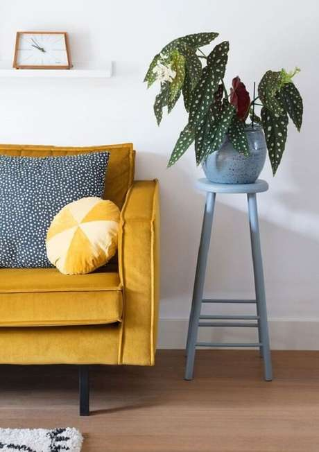 9. Traga verde para sala de estar e aprenda como cuidar de Begônia Maculata na decoração. Fonte: Pinterest
