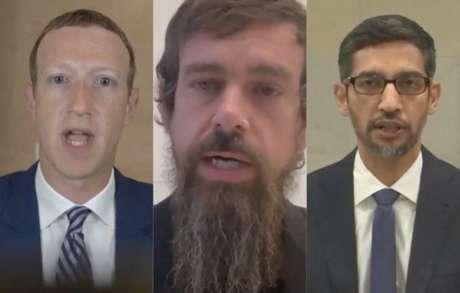 Mark Zuckerberg, Jack Dorsey e Sundar Pichai, durante audiência do Senado dos EUA