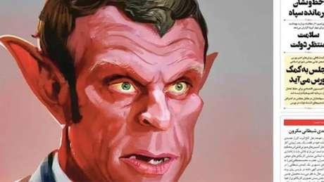 A publicação ultraconservadora iraniana Vatan Emrooz desenhou Macron como um demônio