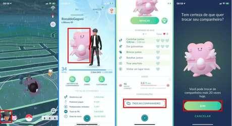 Troca de companheiros em Pokémon GO (Imagem: Reprodução/Niantic/The Pokémon Company)