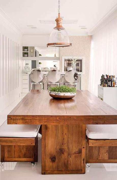 52. Invista em vasos de plantas para varanda gourmet – Foto: Casa de Valentina