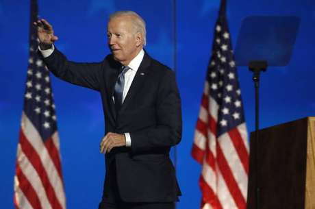 Joe Biden discursa para apoiadores em Wilmington, Delaware